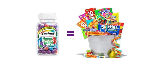 Introducing a new POOR FOOD excuse for a vitamin. We are about to burst the bubble on Centrum Flavor Burst!