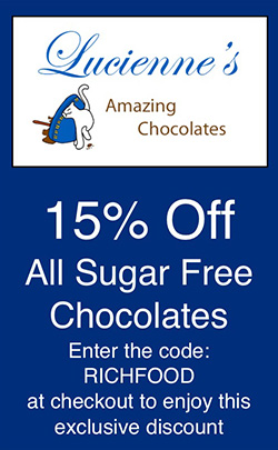 Lucienne's Amazing Chocolates - 15% off all sugar free chocolates with code RichFood