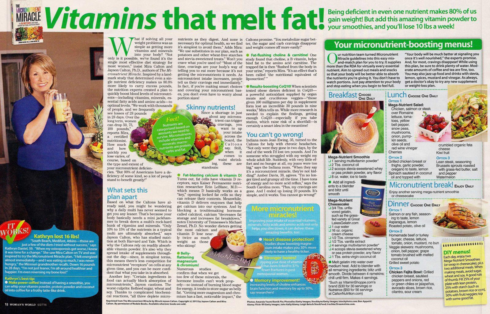 Woman's World Magazine, Vitamins That Melt Fat CaltonNutrition.com