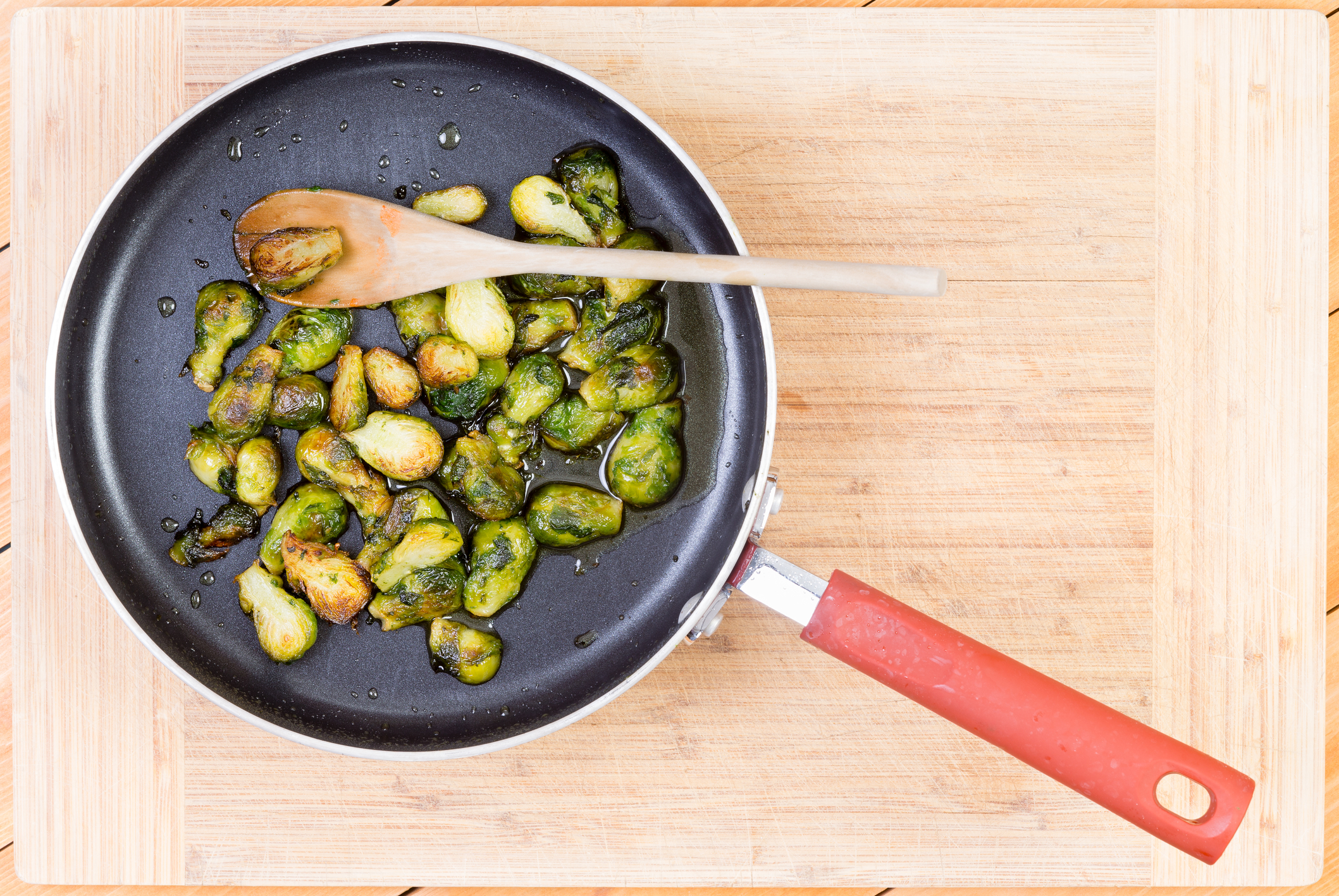Brussel sprouts cooked in non-stick pan